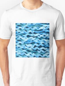 Abstract watercolor blue wave pattern, water texture sketch background. Drawing by hand illustration Unisex T-Shirt