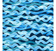 Abstract watercolor blue wave pattern, water texture sketch background. Drawing by hand illustration Photographic Print