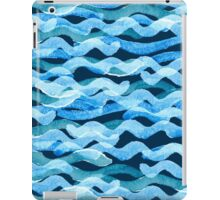 Abstract watercolor blue wave pattern, water texture sketch background. Drawing by hand illustration iPad Case/Skin