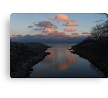 Pink and Blue Serenity - a Lakefront Stillness  Canvas Print