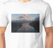 Pink and Blue Serenity - a Lakefront Stillness  Unisex T-Shirt