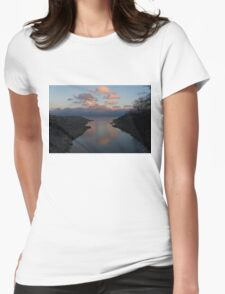 Pink and Blue Serenity - a Lakefront Stillness  Womens Fitted T-Shirt