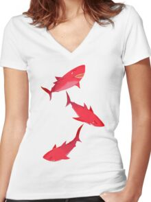 Sakura Shark Women's Fitted V-Neck T-Shirt