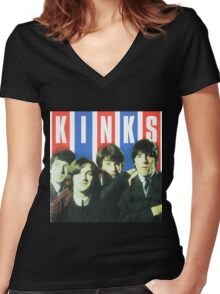 The Kinks Rock Band Women's Fitted V-Neck T-Shirt