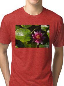 Vivid Magenta Lotus Bloom Tri-blend T-Shirt