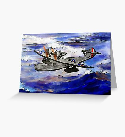 A digital painting of A Saro Cloud A29 of the Royal Air Force Greeting Card