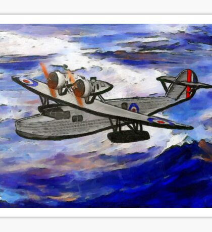 A digital painting of A Saro Cloud A29 of the Royal Air Force Sticker