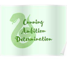Slytherin - Cunning, Ambition, Determination Poster