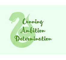 Slytherin - Cunning, Ambition, Determination Photographic Print