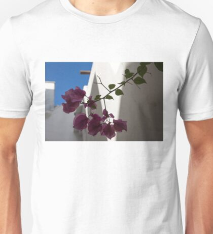 Contemplating Mediterranean Vacations - Whitewashed Walls and Bougainvilleas Unisex T-Shirt
