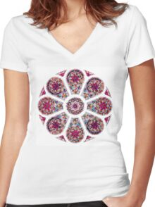 Stained Glass Mandala Women's Fitted V-Neck T-Shirt
