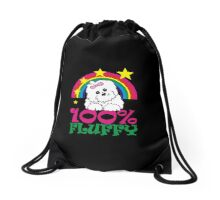 Cwoot Rainbow 100% Fluffy White Puppy Drawstring Bag
