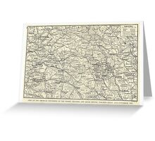Vintage WW1 Map - American Offensives France 1918 Greeting Card