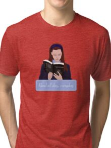 read all day, every day // blue version Tri-blend T-Shirt