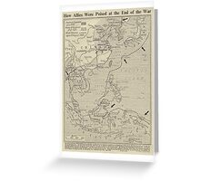 Vintage WW1 Map - End Of The War Greeting Card
