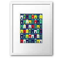 Beach Huts - Blue, Red, White and Yellow Framed Print