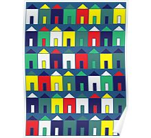 Beach Huts - Blue, Red, White and Yellow Poster