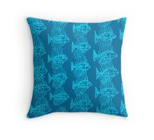 Blue Tropical Fish Abstract Art Throw Pillow Throw Pillow