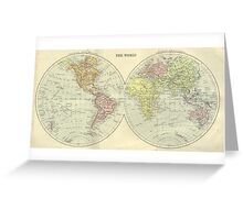 Vintage 1912 Map Of The World Greeting Card