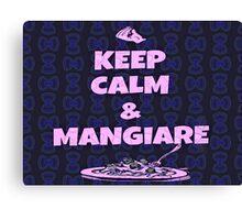 Keep Calm And Mangiare Neon Blue Canvas Print