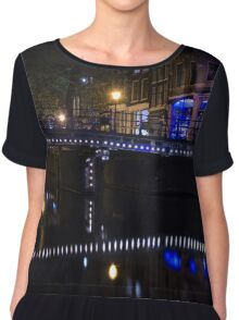 Magical Amsterdam Night - Blue, White and Purple Lights Symmetry Chiffon Top