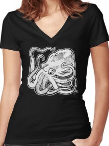 Octopus Print Women's Fitted V-Neck T-Shirt