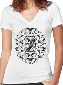 Arts & Crafts Bowdown Hound Women's Fitted V-Neck T-Shirt