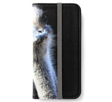 Ostrich Head Portrait Isolated on Black iPhone Wallet/Case/Skin