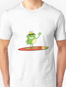Funny cartoon frog surfer Unisex T-Shirt