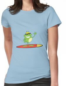 Funny cartoon frog surfer Womens Fitted T-Shirt