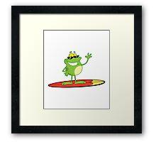 Funny cartoon frog surfer Framed Print
