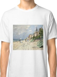 Claude Monet - Beach At Trouville 1870. Famous Paintings. Impressionism Classic T-Shirt