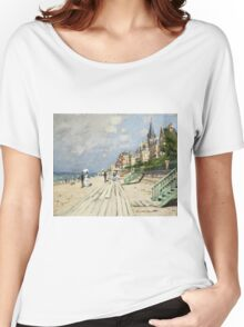 Claude Monet - Beach At Trouville 1870. Famous Paintings. Impressionism Women's Relaxed Fit T-Shirt