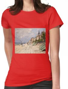 Claude Monet - Beach At Trouville 1870. Famous Paintings. Impressionism Womens Fitted T-Shirt