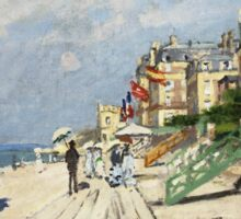 Claude Monet - Beach At Trouville 1870. Famous Paintings. Impressionism Sticker