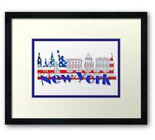 New York Skyline American Flag Art Framed Print