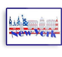 New York Skyline American Flag Art Metal Print