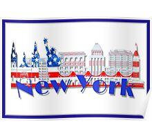 New York Skyline American Flag Art Poster