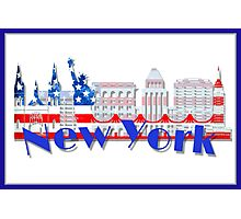 New York Skyline American Flag Art Photographic Print
