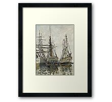 Claude Monet - Boats In A Harbour 1873. Famous Paintings. Impressionism Framed Print
