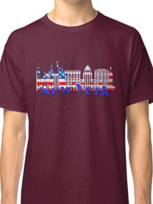 New York Skyline American Flag Art Classic T-Shirt