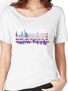 New York Skyline American Flag Art Women's Relaxed Fit T-Shirt
