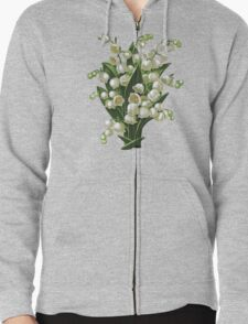 Lilies of the valley - acrylic painting Zipped Hoodie