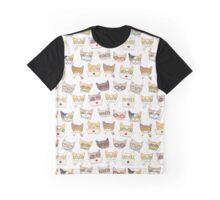 Cats in Glasses Pattern Graphic T-Shirt