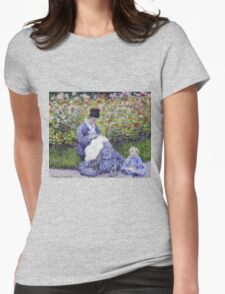 Claude Monet - Camille Monet And A Child In The Artist S Garden In Argenteuil 1875 Impressionism Womens Fitted T-Shirt