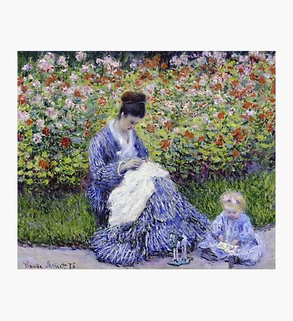 Claude Monet - Camille Monet And A Child In The Artist S Garden In Argenteuil 1875 Impressionism Photographic Print