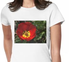 Bright and Red Sunny Tulip Womens Fitted T-Shirt