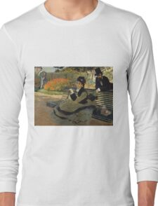 Claude Monet - Camille Monet On A Garden Bench. Impressionism,Vintage Gift Long Sleeve T-Shirt
