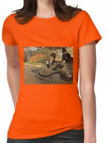 Claude Monet - Camille Monet On A Garden Bench. Impressionism,Vintage Gift Womens Fitted T-Shirt