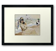 Claude Monet - Camille On The Beach In Trouville. Impressionism.Unique Gift Framed Print